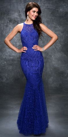 Sexy Indigo Lace Prom Dress Nina Canacci. Colors: Indigo. Size: 2-12