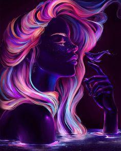 art oscuro Blacklight babe Digital Painting C - art Cartoon Kunst, Cartoon Art, Psychedelic Art, Photographie Art Corps, Art Magique, Art Noir, African Art Paintings, Arte Obscura, Dark Art Drawings