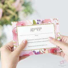 Vízfestékes Virágos Esküvői RSVP Válaszkártya - Esküvői Meghívó, Alkalmi és Családi Grafika Webáruház Wedding Rsvp, Response Cards, Card Holder, Vintage, Rolodex, Vintage Comics