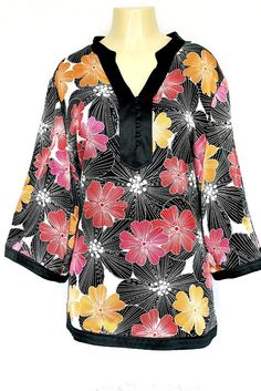 Alfani 20W Multi-Color 100% Silk Floral Tunic Top Kimono Black Red Plus V Neck #Alfani #Top #Any