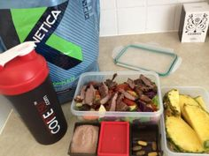 Core 150 ™ The Athletes Shaker™ Monday meal prep steak, salad, 2x @Stephanie whey, vitamins and pineapple slices