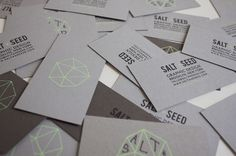 Combination of minty green, silk screen process on one side, and print for Salt & Seed business card.