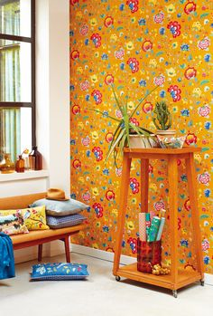Floral Fantasy by Pip is an all over #wallpaper design featuring a flamboyant floral trail, with large vibrant #flowers.