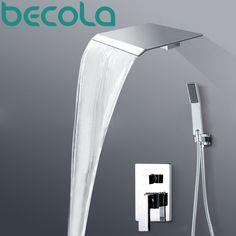 Polished Chrome Luxury Wall Mounted Rain Waterfall Shower Faucet Set With Hand Single Handle