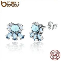 a640600e83 Authentic 925 Sterling Silver Crystal Frost Stud Earrings Jewelry Stores