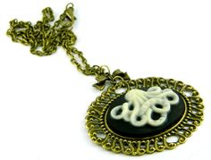 Steampunk Goth Cameo Necklace Squid Bronze by TheCraftyPandaGirl, $22.40