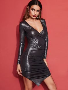 Metallic Grey Surplice Front Ruched Asymmetric Bodycon Dress