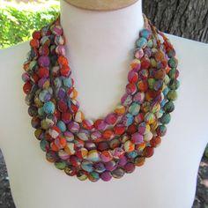 Sari Silk Beaded Necklace + Free Silk Storage Pouch - darngoodyarn