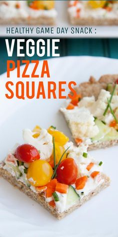 These cold veggie pizza squares are sure to satisfy at your next Super Bowl Party. Shhh, don't tell anyone, but they're healthy, too! Pizza Appetizers, Great Appetizers, Healthy Appetizers, Appetizer Recipes, Healthy Snacks, Healthy Eating, Healthy Recipes, Pizza Recipes, Cooking Recipes