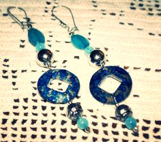 These are long and dangly, bold and in-you-face blue pierced earrings.  All of my pieces are one-of-a-kind and will never be replicated.  All profits will be donated to missionaries. With this purchase $7 will be donated.  Shipping is free. I sell ...