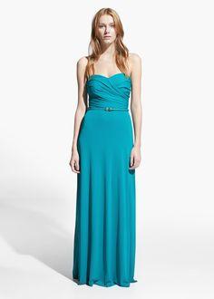 Langes Kleid mit Drapierung #mango