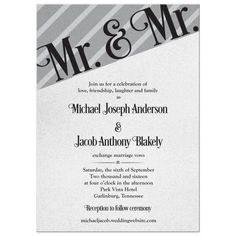 Mr and Mr same-sex wedding invitation in elegant silver grey and black