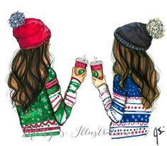 Arkadaş çizim best friend drawings, drawings of friends ve bff drawings. Best Friend Drawings, Bff Drawings, Cool Drawings, Winter Drawings, Art And Illustration, Fashion Sketches, Art Sketches, Fashion Illustrations, Drawing Fashion