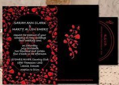 wedding invitation invitation black red by CreativeArtbySheila