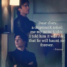 Find images and videos about funny, the vampire diaries and tvd on We Heart It - the app to get lost in what you love. Vampire Diaries Memes, Vampire Diaries Damon, Vampire Diaries Wallpaper, Vampire Daries, Vampire Diaries The Originals, Damon Salvatore Quotes, Damon Quotes, Damon And Elena Quotes, Delena