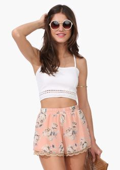 Beat the heat in a crop top and flowy shorts