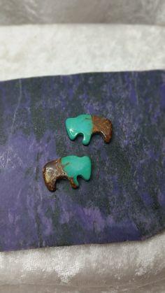 Green Turquoise Buffalo Cabochon Pair/ backed/ Pilot Mountain by SaiyoStoneJewelry on Etsy