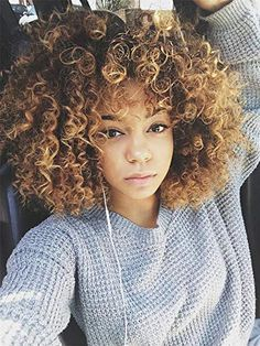 AISI BEAUTY Curly Wig with Bangs Synthetic Afro Kinky Curly Wig Blonde Mixed Brown Afro Wig for Halloween Costume Cosplay Short Curly Afro, Kinky Curly Wigs, Afro Wigs, Celebrity Short Hair, Celebrity Hairstyles, Frontal Hairstyles, Wig Hairstyles, Black Hairstyles, Wigs With Bangs