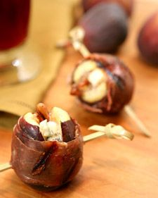 These delicious grilled proscuitto-wrapped figs with blue cheese and pecans are an ideal accompaniment to many kinds of wine.