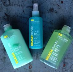 The best beachy hair products are BACK! Beach Blonde by John Frieda: Sea Waves Sea Salt Spray, Cool Dip Shampoo, and Smooth Seas Conditioner. 10 years have passed, but these have only gotten better!