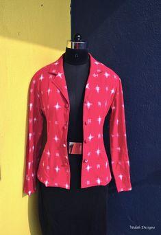 Hot pink handloom IKat Jacket Blazer Indian Ikat cotton jacket | Etsy Female Blazer, Pink White, Hot Pink, Summer Coats, Western Tops, Batik Dress, Indian Suits, Work Looks, Cotton Jacket