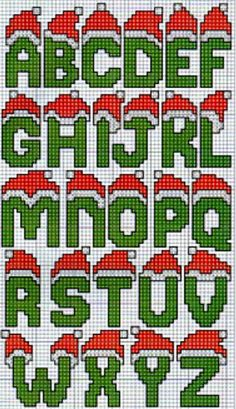 X-stitch Christmas lettering Cross Stitch Letters, Cross Stitch Charts, Cross Stitch Designs, Stitch Patterns, Christmas Cross Stitch Alphabet, Christmas Letters, Christmas Hat, Hama Beads Design, Hama Beads Patterns