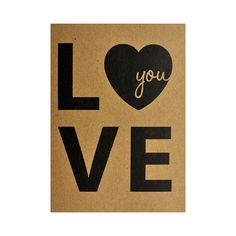 Ansichtkaart - Love you  #kaart #kraft #A6 #typografie #recycle #quote #grafisch #ontwerp #design #papier #bruin #karton