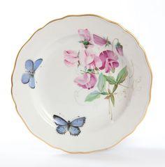 Teller m.H. (o.M. 00501), Wicken naturalistisch, bunt, mit Schmetterling, blau, Goldrand, ø 18 cm