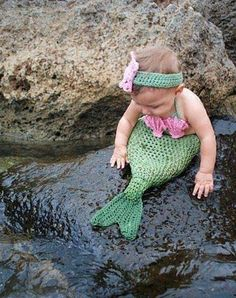 This is so cute! cutest babies, diy halloween costumes, mermaid tails, first halloween, future babies, baby costumes, baby girls, the little mermaid, mermaid costumes