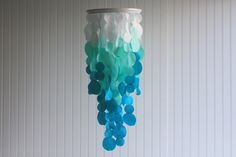 Fabric Ombre Hanging Chandelier Mobile Wedding Decoration in white, aqua, and turquoise - ombre style unique wedding decoration