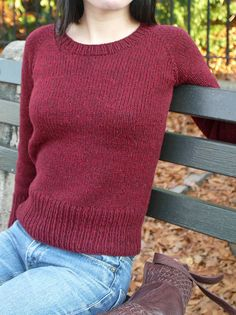 Top down, free, and lots of possibilities. Raglanify crew-neck red by SoKnit, via Flickr