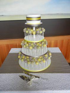 Yellow Grey Cake Pop Display Love