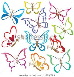 stock photo : Set abstract butterflies, coloured contour silhouettes on white background