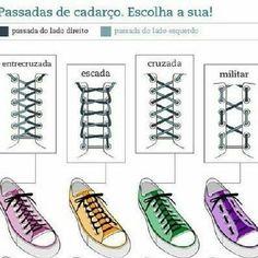 Modernize seu look apenas mudando o estilo de passar o cadarço! #estilo #loveshoes #teniscasual #sap - elianecalcadosbarra