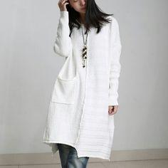 Long knit assimetric sweater