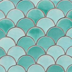 Decorative tile - scallop tiles green - gvega