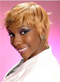 Black Women Pixie Hairstyle Short Straight Full Lace Human Hair Wigs