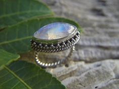 Rainbow moonstone ring in sterling silver by Billyrebs on Etsy, $105.00