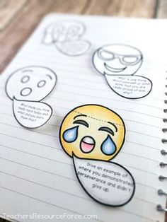 Growth Mindset Emoji Interactive Notebook Exit Tickets - editable!