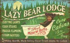 Lazy Bear Vintage Wood Sign at AllPosters.com