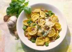 Tortellini with broad bean and bacon...  Tortellini con fave e pancetta affumicata