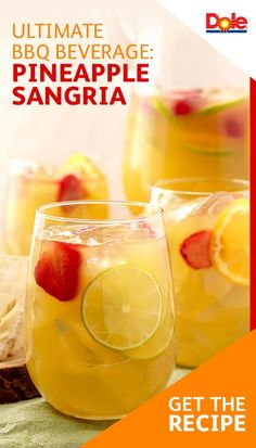 Ultimate BBQ Beverage: Pineapple Sangria - Give sangria a summer makeover when you add DOLE®️️ Canned Pineapple Juice and DOLE Pineapple Chunks. Discover more recipes for your next BBQ at Cocktails, Non Alcoholic Drinks, Party Drinks, Cocktail Drinks, Fun Drinks, Healthy Drinks, Beverages, Peach Drinks, Champagne Cocktail