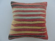 """Modern Bohemian Home Decor , Embroidered Handwoven Striped Vintage Tribal Turkish Kilim Pillow cover 16"""" x 16"""""""