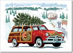 Vintage Woodie Car Christmas Card features a vintage Woodie Wagon classic car visiting a snowy Christmas tree farm. A nostalgic, all-American Christmas card.  8 cards & envelopes $12.00 | Folded Card Size 4.5″x 6.25″