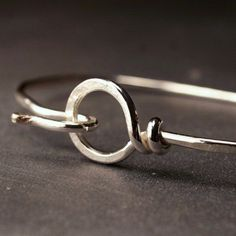Sterling silver hammered bangle hook and loop by hartleystudio, $56.00