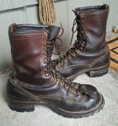 Wesco Boots jobmaster Brown Leather lineman work Boots - Size 9 E in Clothing, Shoes & Accessories, Men's Shoes, Boots   eBay