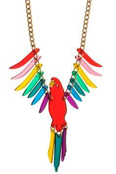 Parakeet Large Necklace - Red Multi #tattydevine #fashiontakesaction