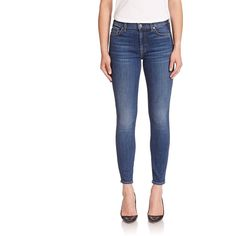 7 For All Mankind Pocket Detail Skinny Jeans ($230) ❤ liked on Polyvore featuring jeans, apparel & accessories, medium shadow blue, white denim skinny jeans, zipper pocket jeans, zipper skinny jeans, zipper jeans and skinny jeans