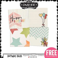 FREE Digital Scrapbooking, Project Life and Digital Pocket Scrapbooking Birthday Bliss Journal Cards by Just Jaimee