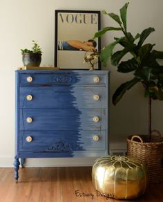 Ombre Brush Stroke Chest of Drawers by Meagan of Estuary  Designs  Nice shape, but not crazy bout that paint job.